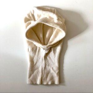 Dore Cream Knit Hood Ruffle Hat
